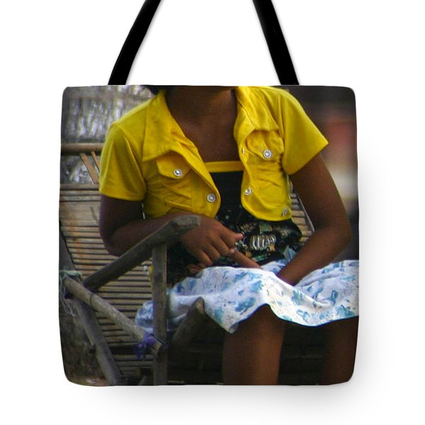 Burmese Girl With Traditional Thanaka Face Painting Sitting On Chair Yangon Myanmar Tote Bag