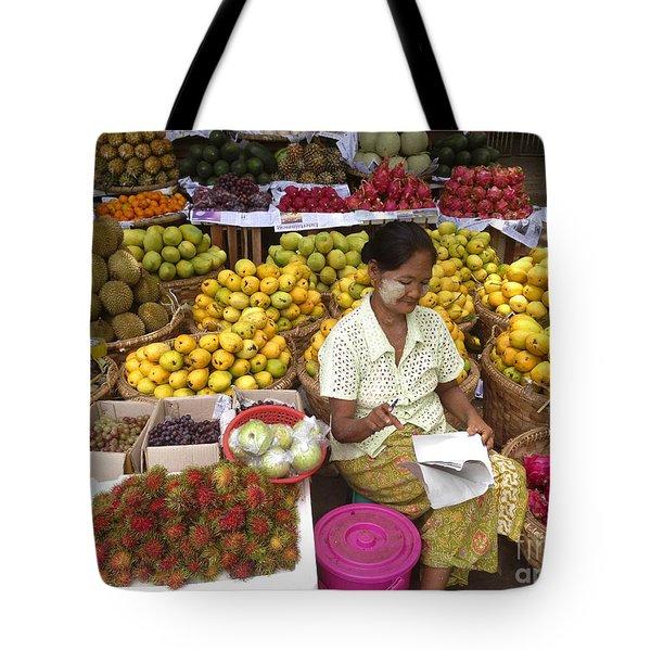 Burmese Lady Selling Colourful Fresh Fruit Zay Cho Street Market 27th Street Mandalay Burma Tote Bag