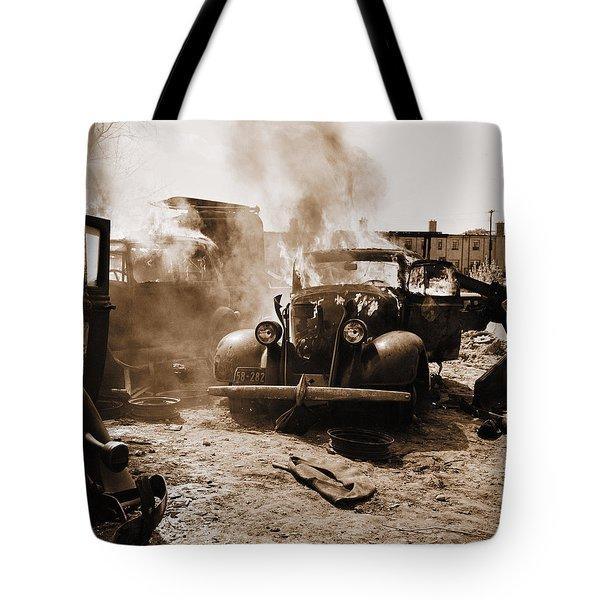 Burning Car Circa 1942  Tote Bag