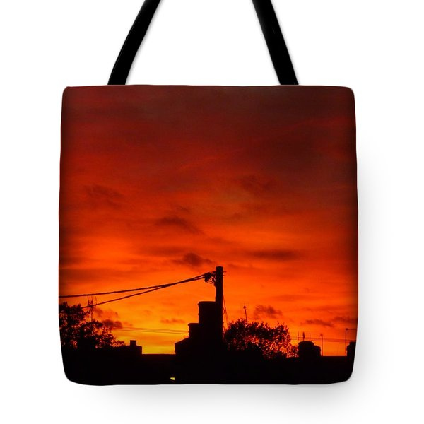 Burning Sky Tote Bag by Vicki Spindler