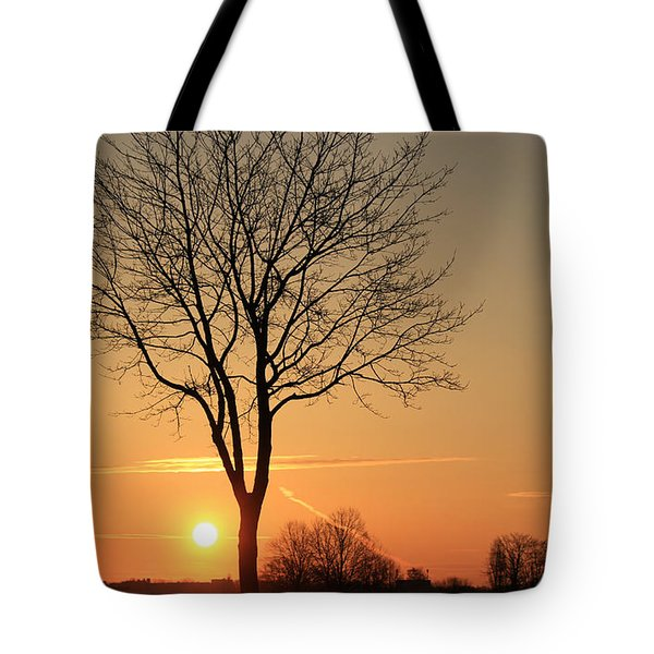 Burning Tree In The Sunrise Tote Bag