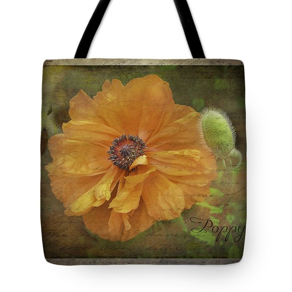Tote Bag featuring the photograph Burnished Poppy by Betty Denise