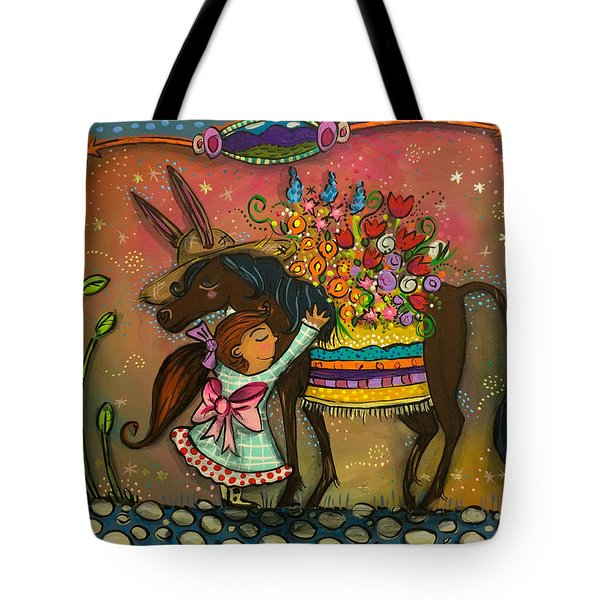 Tote Bag featuring the painting Burro Hugs by Marti McGinnis