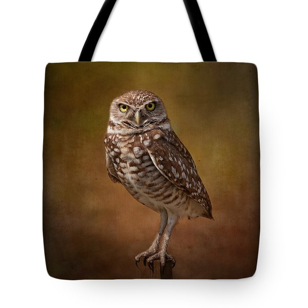 Burrowing Owl Portrait Tote Bag by Kim Hojnacki