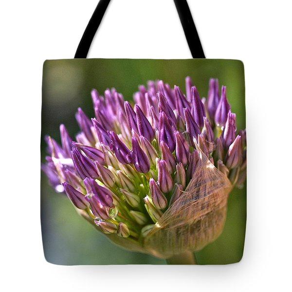 Bursting Allium Purple Sensation Tote Bag by Rona Black