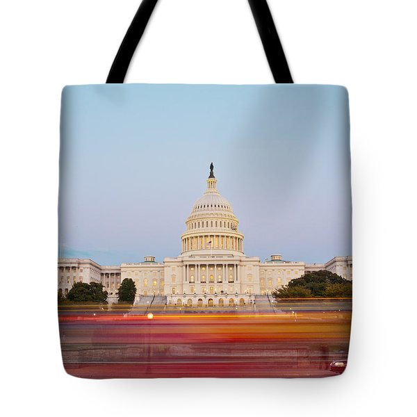 Bus Blur And U.s.capitol Building Tote Bag by Richard Nowitz