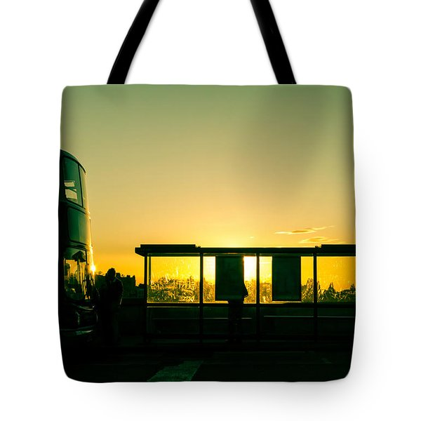 Bus Stop At Sunset Tote Bag