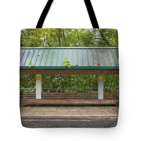 Bus Stop Bench In The Rainforest  Tote Bag