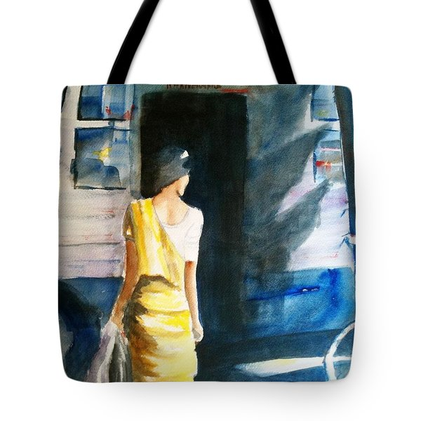 Bus Stop - Woman Boarding The Bus Tote Bag