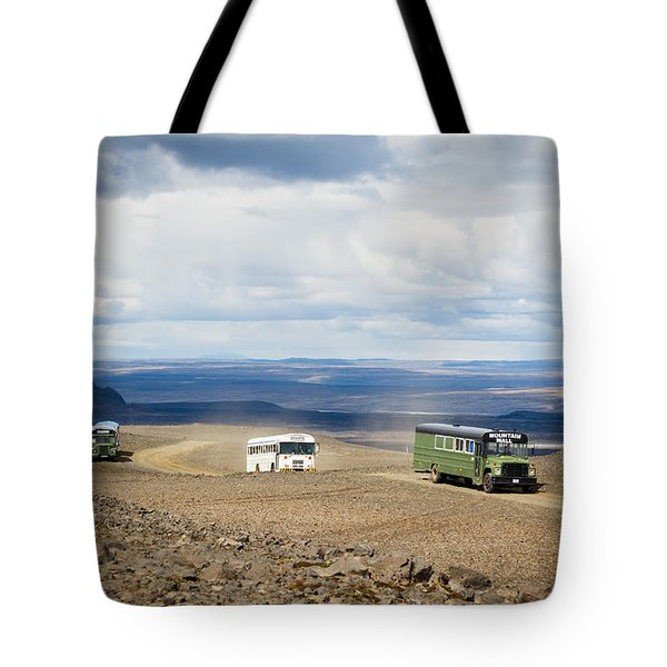 Tote Bag featuring the photograph Buses Of Landmannalaugar by Peta Thames