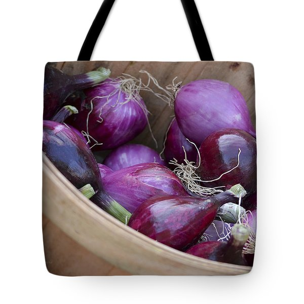 Bushel Of Red Onions Farmers Market Tote Bag by Julie Palencia