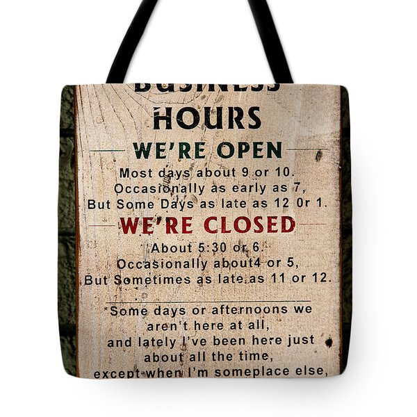 Business Hours Tote Bag by Jon Burch Photography