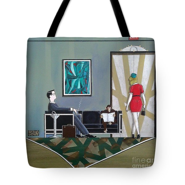 Businessman Sitting In Chair Reading A Newspaper Tote Bag by John Lyes