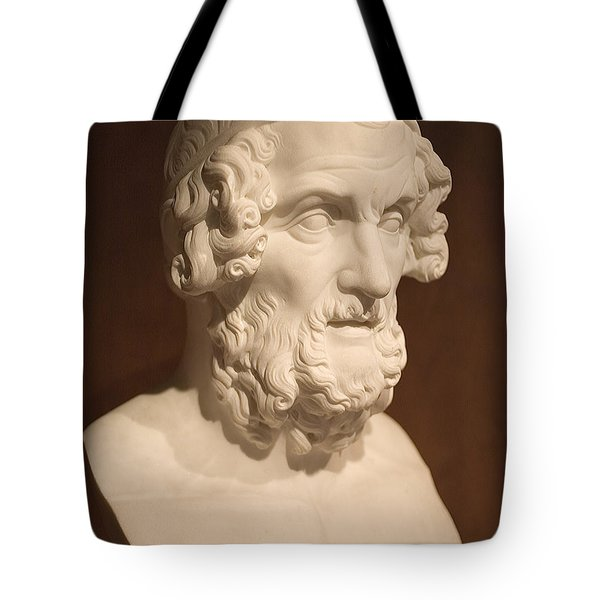 Tote Bag featuring the photograph Bust Of Homer by Mark Greenberg