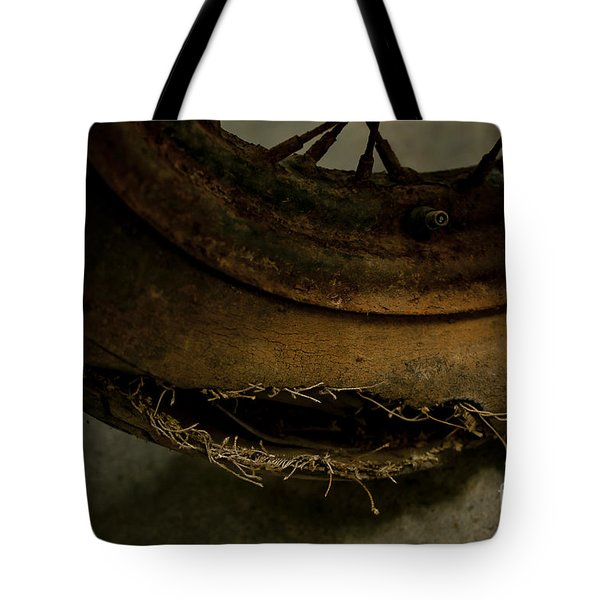 Busted Motorcycle Tire Tote Bag