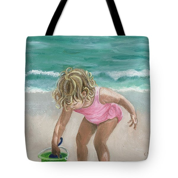 Busy Beach Girl Tote Bag