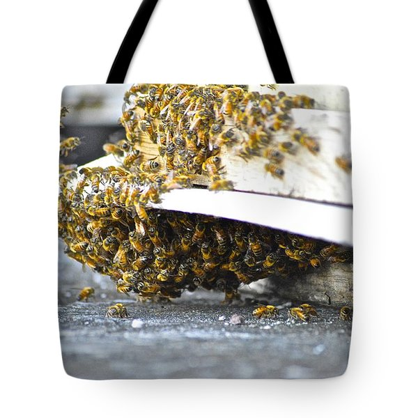 Tote Bag featuring the painting Busy Bees by Laura Forde