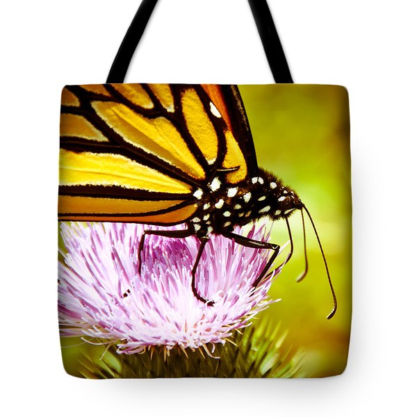 Tote Bag featuring the photograph Busy Butterfly by Cheryl Baxter
