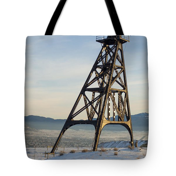 Tote Bag featuring the photograph Butte Headframe by Fran Riley