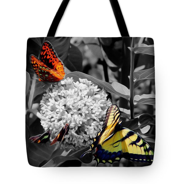 Tote Bag featuring the digital art Butterflies At Rest by Kelvin Booker