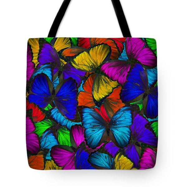 Tote Bag featuring the photograph Butterflies In Flight Panorama by Kyle Hanson