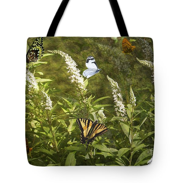 Tote Bag featuring the photograph Butterflies In Golden Garden by Belinda Greb