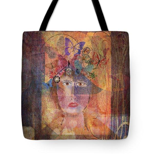 Tote Bag featuring the digital art Butterflies In Her Hair by Arline Wagner