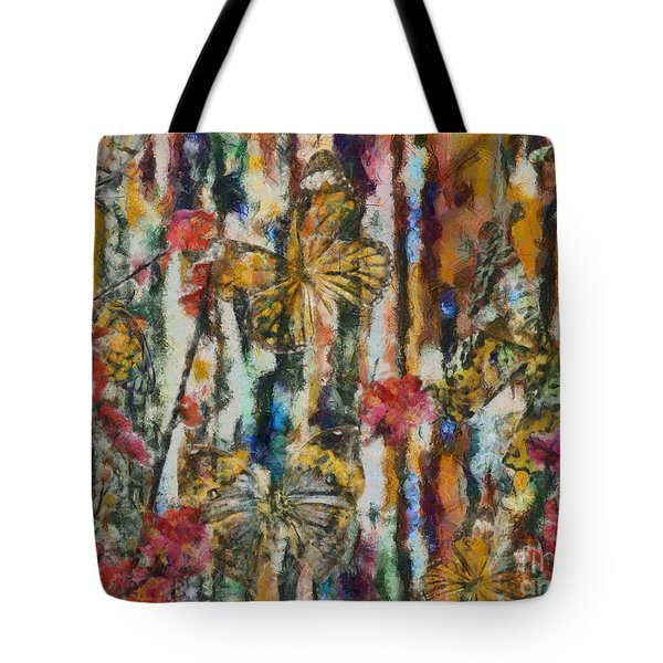 Tote Bag featuring the digital art Butterflies In Plum Blossoms And Texture by Nola Lee Kelsey
