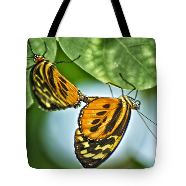 Tote Bag featuring the photograph Butterflies Mating by Thomas Woolworth
