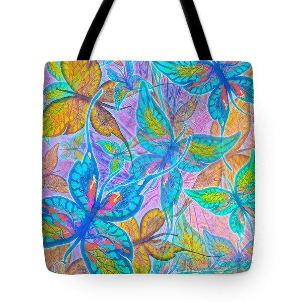 Tote Bag featuring the mixed media Butterflies On Lilac by Teresa Ascone