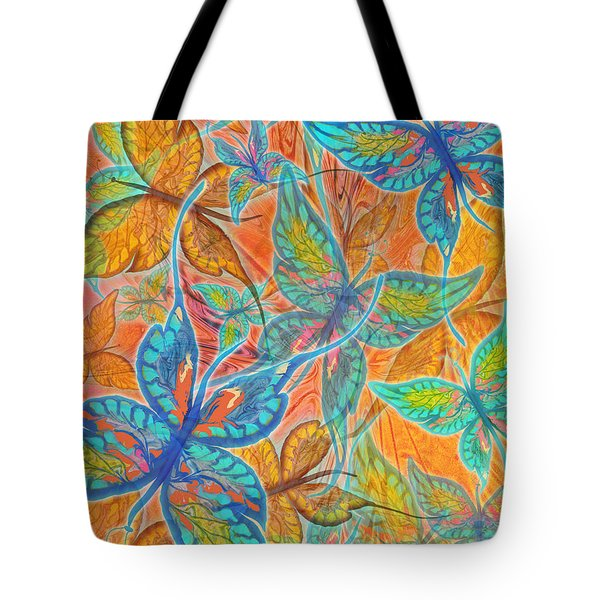 Tote Bag featuring the painting Butterflies On Tangerine by Teresa Ascone
