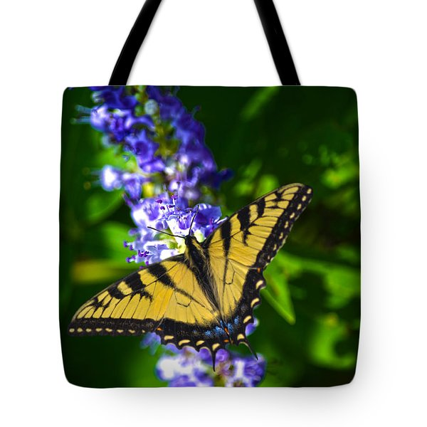 Butterflly Bush And The Swallowtail Tote Bag by Sandi OReilly
