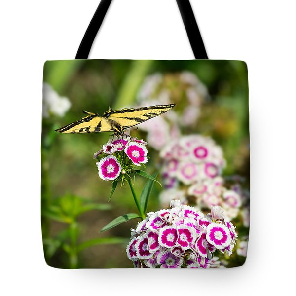 Butterfly And Bloom - Beautiful Spring Flowers And Tiger Swallowtail Butterfly. Tote Bag by Jamie Pham