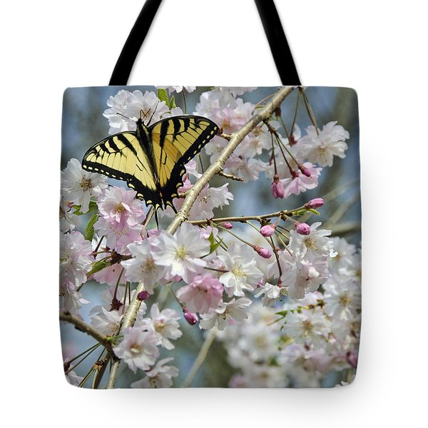 Tote Bag featuring the photograph Butterfly And Blooms by Kenny Francis