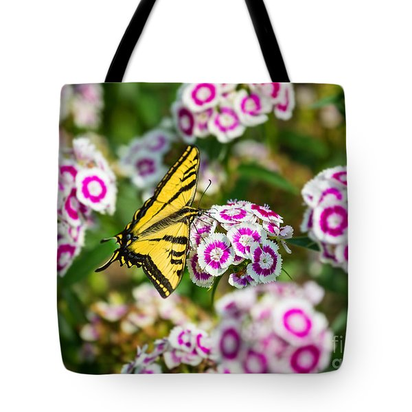 Butterfly And Blooms - Spring Flowers And Tiger Swallowtail Butterfly. Tote Bag by Jamie Pham