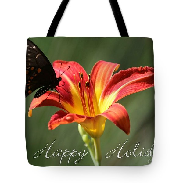 Tote Bag featuring the photograph Butterfly And Lily Holiday Card by Sabrina L Ryan