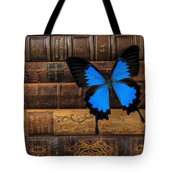 Butterfly And Old Books Tote Bag by Garry Gay