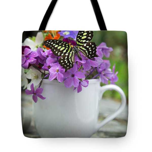 Butterfly And Wildflowers Tote Bag by Edward Fielding