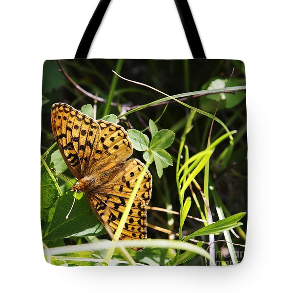 Tote Bag featuring the photograph Butterfly At Signal Mountain by Belinda Greb