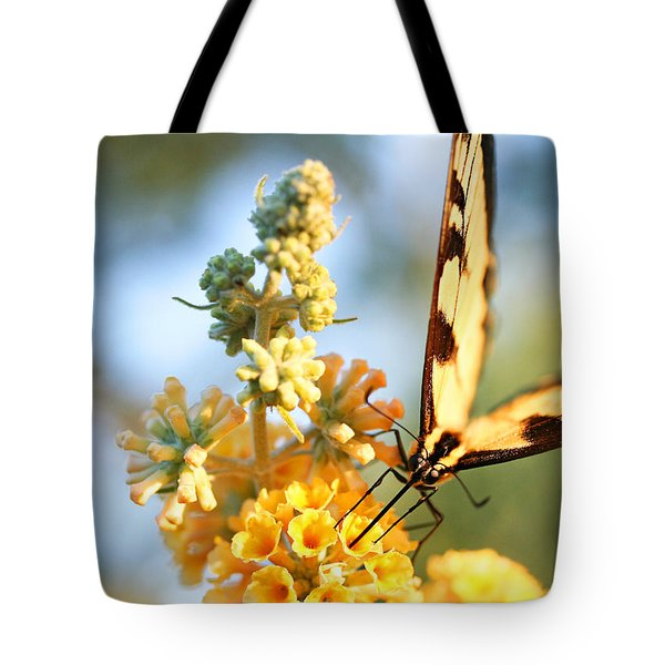 Tote Bag featuring the photograph Butterfly At Work by Trina  Ansel