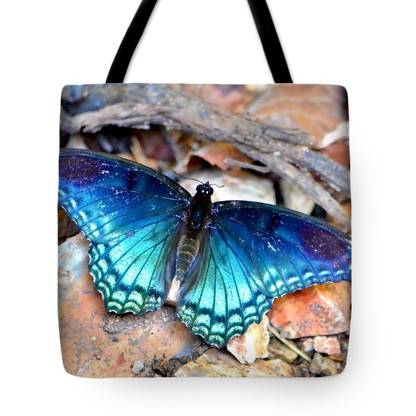 Tote Bag featuring the photograph Butterfly Blue  by Deena Stoddard