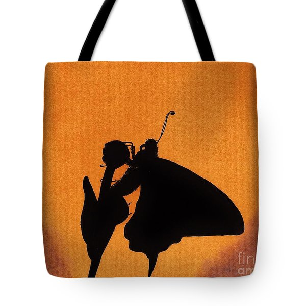 Tote Bag featuring the drawing Butterfly by D Hackett