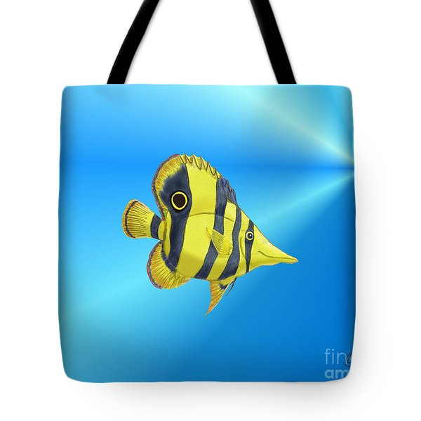 Tote Bag featuring the digital art Butterfly Fish by Chris Thomas