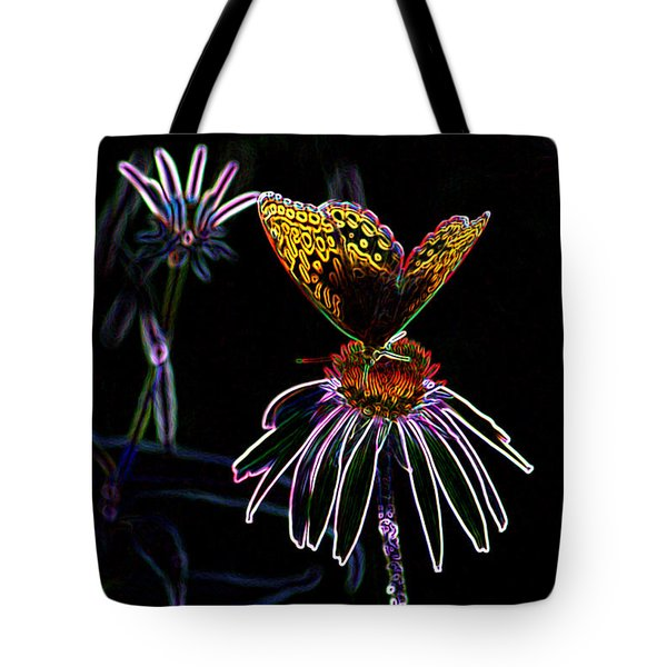 Tote Bag featuring the digital art Butterfly Garden 03 - Great Spangled Fritillary by E B Schmidt