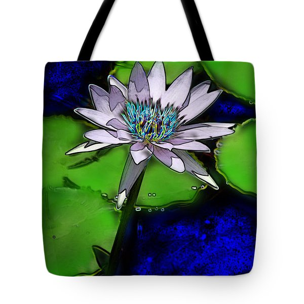Tote Bag featuring the digital art Butterfly Garden 10 - Water Lily by E B Schmidt
