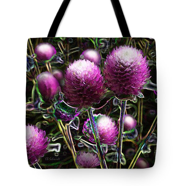 Tote Bag featuring the digital art Butterfly Garden 20 - Globe Amaranth by E B Schmidt