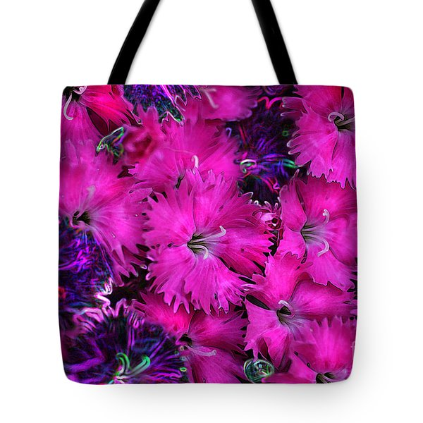 Tote Bag featuring the digital art Butterfly Garden 23 - Carnations by E B Schmidt