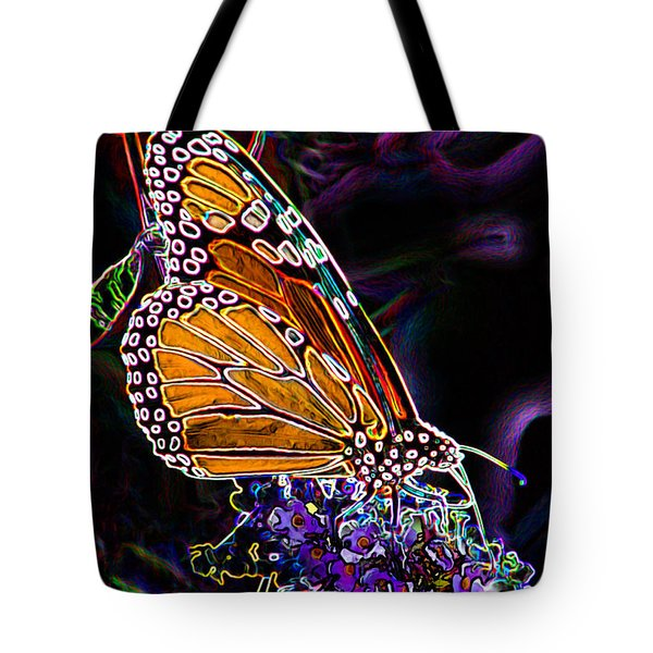 Tote Bag featuring the digital art Butterfly Garden 24 - Monarch by E B Schmidt