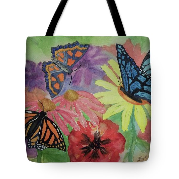 Tote Bag featuring the painting Butterfly Garden by Ellen Levinson