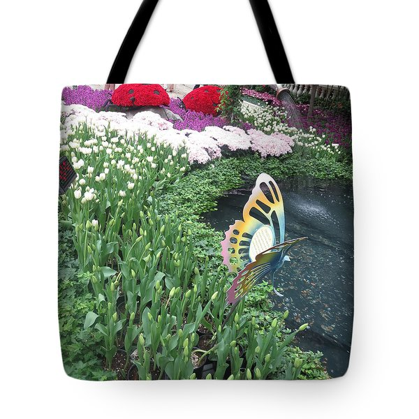 Tote Bag featuring the photograph Butterfly Garden Ladybug Flowers Green Theme by Navin Joshi